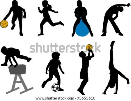 children sport silhouettes - stock vector