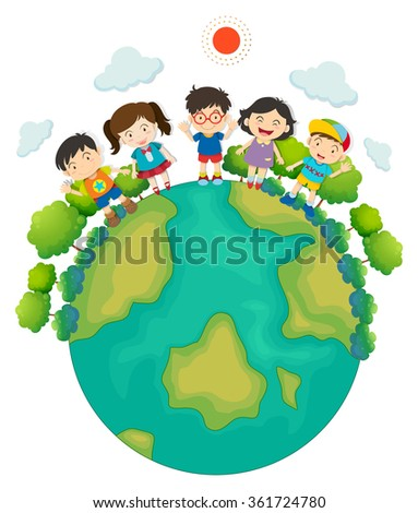 Children standing around the earth illustration
