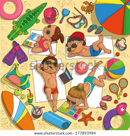 children sunbathing on the beach surrounded by toys for water - stock vector