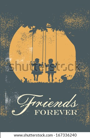 Children swinging with text friends forever, vector - stock vector