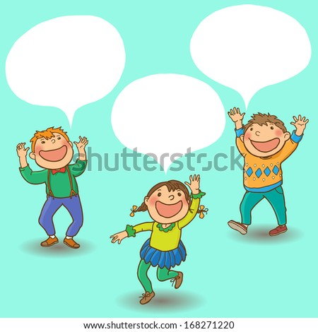Children talking and speech bubble. Back to School children, magazines, advertising and more illustration. Separate Objects on simple background. Editorial. Education. VECTOR. - stock vector