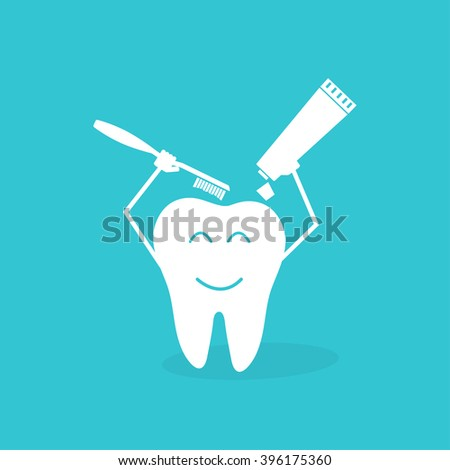 Children teeth care and hygiene cartoon vector icons. Toothbrush and toothpaste - stock vector