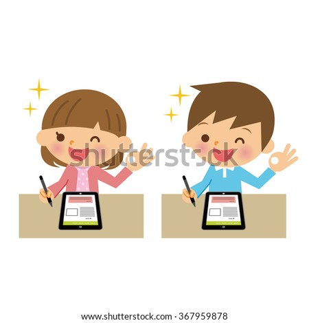 Children that use the tablet. - stock vector