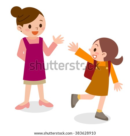 Children to school with a smile - stock vector