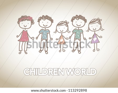 children together in friendship over white background - stock vector