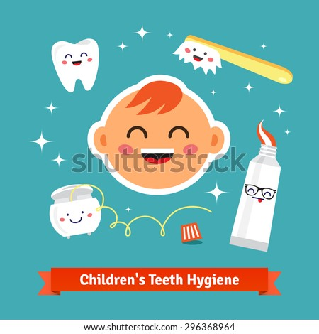 Children tooth hygiene icon set. Happy baby with healthy teeth, dental floss, toothpaste and toothbrush. Flat style cartoon vector icons. - stock vector