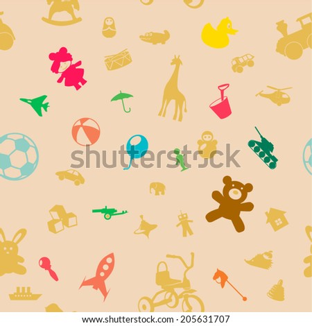 children toys, colored seamless background