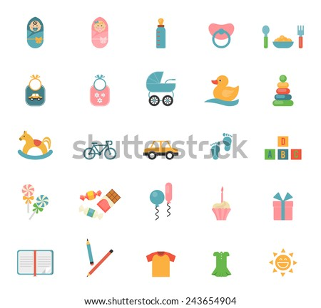 Children toys in flat style. Set of icons on a theme of infants and their accessories. Vector illustration - stock vector
