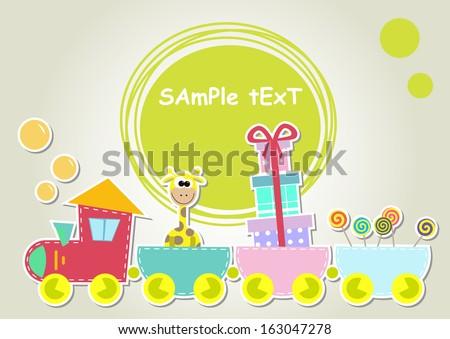 children train illustration with giraffe and gift - stock vector