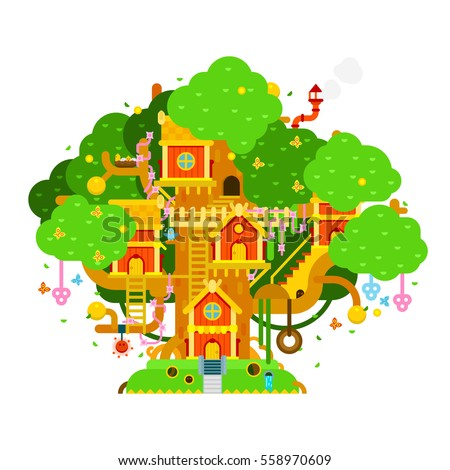 Children treehouse colorful vector illustration houses for Colorful tree house