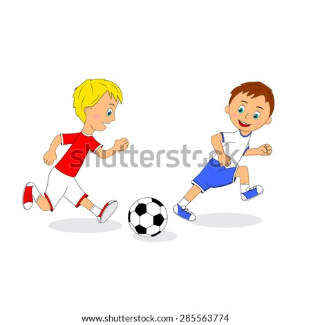 children,two boys playing football, illustration, vector
