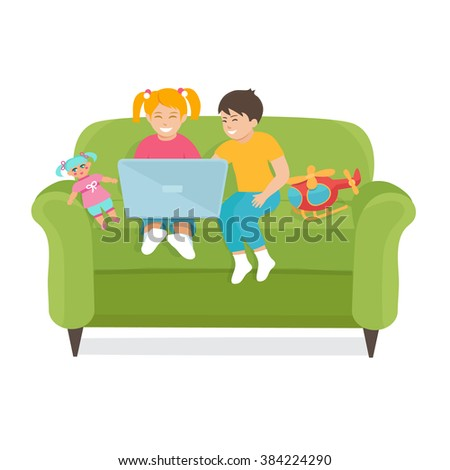 Children Use a laptop sitting on the couch.  Vector illustration of children boy and girl. Children use the Internet.Children with toys. - stock vector