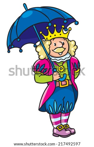 Children vector illustration of fairy tale king in crown with umbrela