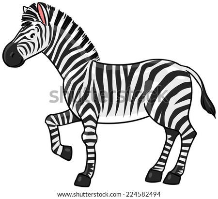 Children vector illustration of funny striped zebra - stock vector