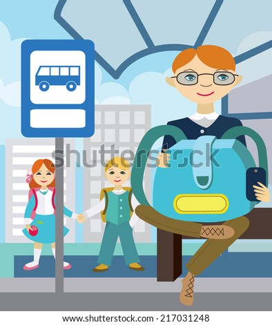 Children waiting for school bus. Back to school (vector illustration, flat concept) - stock vector