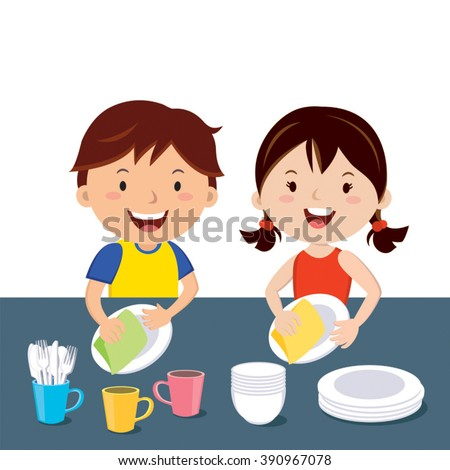 Washing dishes happy kids doing house chores together stock vector