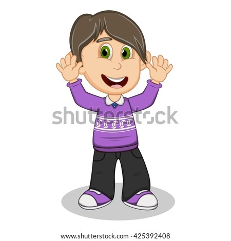 Children waving his hands wearing purple long sleeve sweater and black trousers  cartoon vector illustration - stock vector