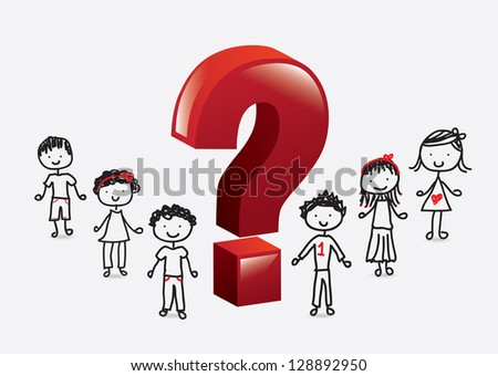 children with a big question mark over white background - stock vector