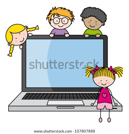 children with a computer. Funny vector, isolated on white background - stock vector