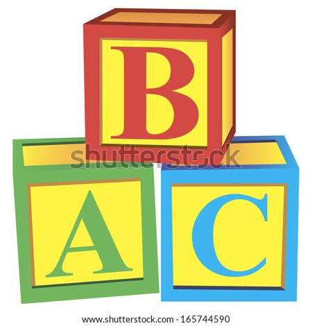 Children with alphabet blocks for learning and play. Vector illustration. - stock vector