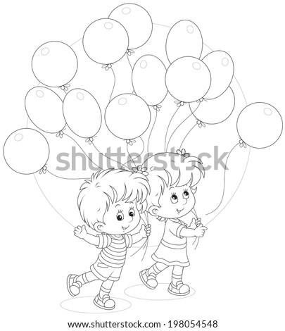 Children with balloons - stock vector