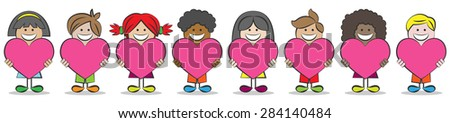 Children with different cultures and hearts - stock vector