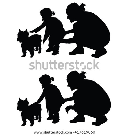 children with dog and mother silhouette illustration in black - stock vector