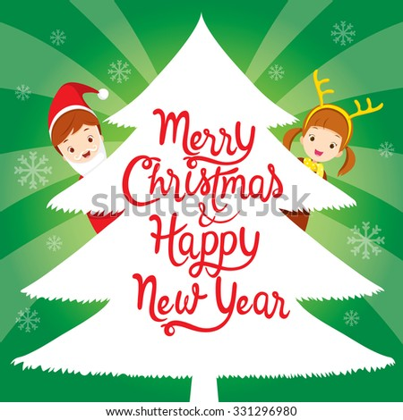 Children With Lettering On Xmas Tree, Happy New Year, Merry Christmas, Xmas, Objects, Festive, Celebrations - stock vector