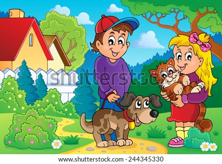 Children with pets theme 2 - eps10 vector illustration. - stock vector