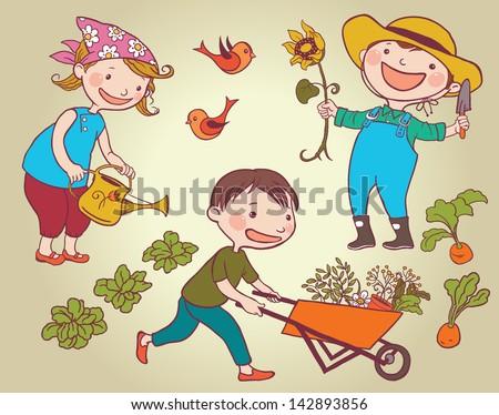 Children Working Vegetable Garden Children Summer Stock ...