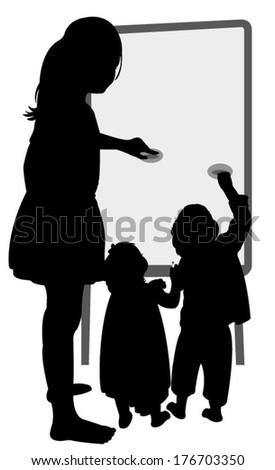 children writing on board  - stock vector