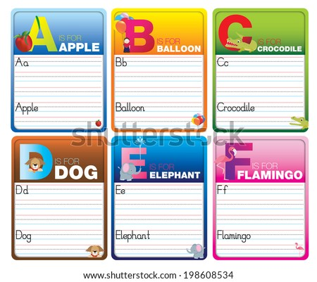 Childrens alphabet writing cards with cartoon characters on white - stock vector