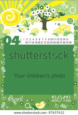 Childrens calendar for the month of April