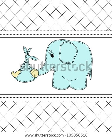 Childrens card with a blue elephant and the baby