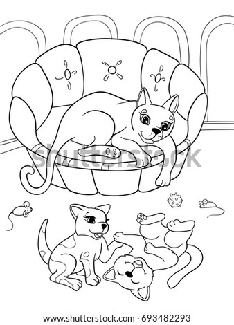 Childrens Coloring Book Cartoon Family On Nature Mom Cat And Kittens Children For Adults