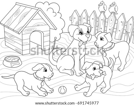 Childrens coloring book cartoon family on nature. Mom dog and puppies children. For adults vector illustration. Anti-stress for adult. Black and white lines