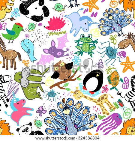 Childrens drawings seamless pattern with animals. Whale and unicorn, snail and mouse, hedgehog and owl, vector illustration - stock vector
