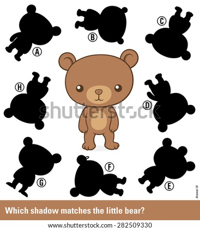 Childrens educational puzzle - match the shadow to the cute cartoon bear teddy from an assortment of eight different silhouette shapes, vector illustration - stock vector