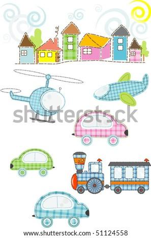 childrens set of transport - stock vector