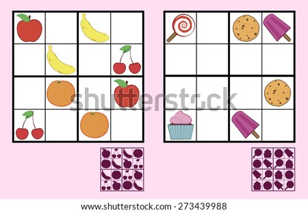 Childrens sudoku puzzle with colorful icons of sweets, nuts and fruit arranged in a grid with squares and a silhouette answer below, two different variations suitable for primary school or recreation - stock vector