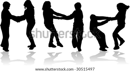 Childrens - vector - silhouettes