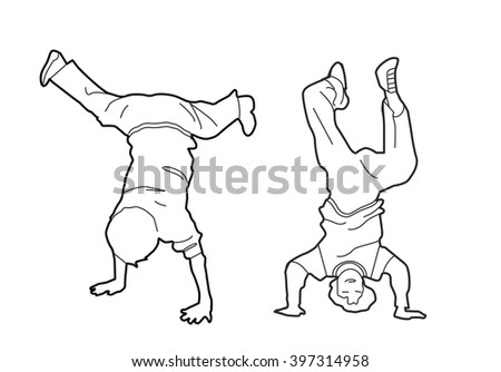 Childs upside down on his hands. Black vector illustration isolated on white background