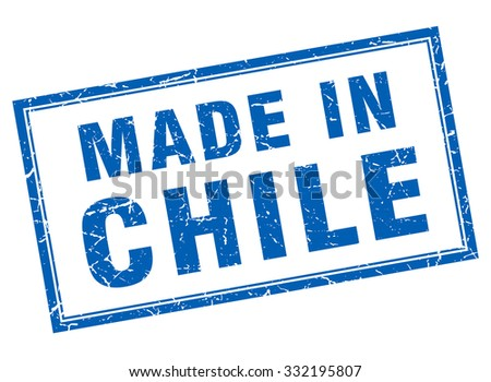 Chile blue square grunge made in stamp