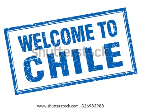 Chile blue square grunge welcome isolated stamp