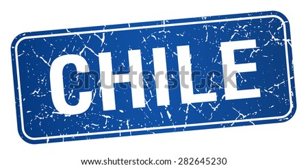 Chile blue stamp isolated on white background