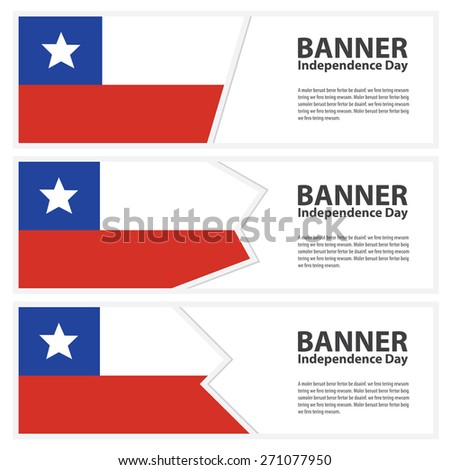 chile Flag banners collection independence day - stock vector