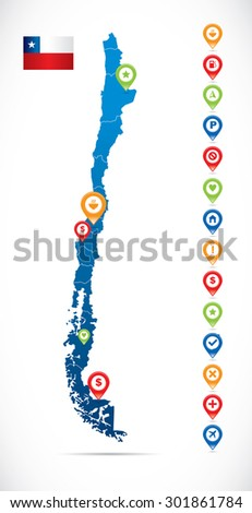 Chile Map with Navigation Icons - stock vector