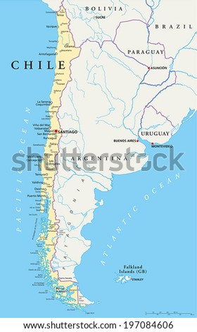 Chile Political Map Capital Santiago National Stock Vector - Chile cities maps