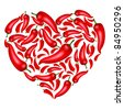 Chili Pepper Heart Shape, Isolated On White Background, Vector Illustration - stock vector