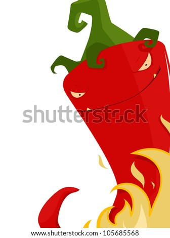 Chili pepper on fire - stock vector